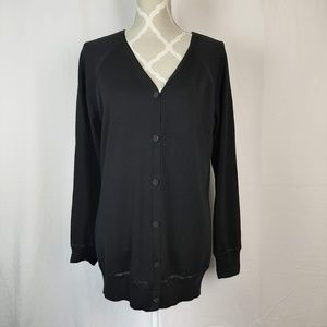 St John Solid Black Button Front Wool Cardigan